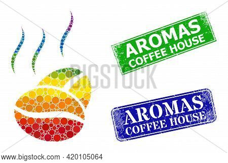 Spectral Colorful Gradient Round Dot Mosaic Cacao Aroma, And Aromas Coffee House Unclean Framed Rect
