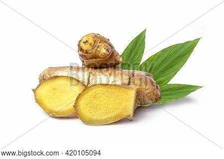 Fresh Ginger Rhizome And Sliced Ginger Rhizome With Split Green Leaves On White Background.