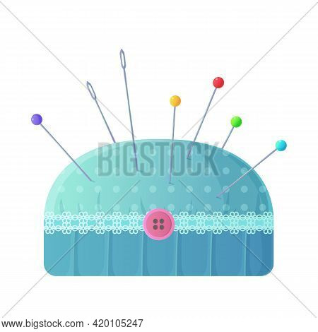 Cute Polka Dot Blue Pincushion With Neddles And Pins Clipart. Sewing Or Tailoring Kit, Handmade Clot