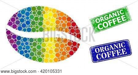 Spectral Colored Gradient Round Dot Mosaic Coffee Bean, And Organic Coffee Scratched Framed Rectangl