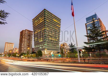 Cityscape Modern Corporate Buildings And Residential Buildins In Apoquindo Avenue At The Wealthy Dis