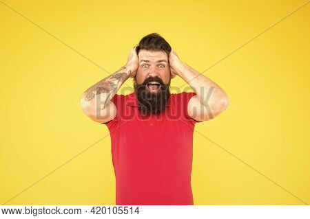 All Is Lost. Desperate Looser Yellow Background. Crazy Hipster Feel Lost. Bearded Man Hold Head In F