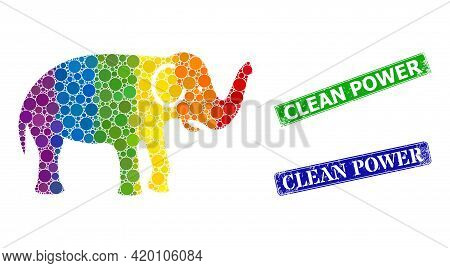 Spectral Colored Gradiented Circle Collage Elephant, And Clean Power Scratched Framed Rectangle Seal