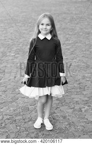 Happy Little Kid Wear School Uniform Dress Code In Formal Style Outdoors, Fashion