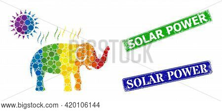 Spectrum Colorful Gradiented Circle Collage Elephant Under Sun Heat, And Solar Power Grunge Framed R