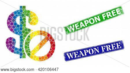 Spectrum Colorful Gradiented Round Dot Mosaic Forbidden Dollar, And Weapon Free Rubber Framed Rectan