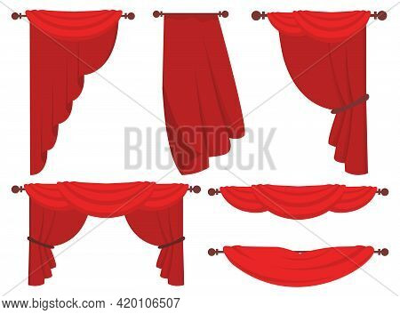 Red Curtains Flat Illustrations Set. Classic Wide Curtains In Victorian Style Isolated Collection.