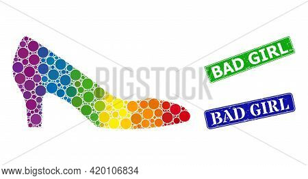 Spectral Colored Gradient Rounded Dot Mosaic Lady Shoe, And Bad Girl Rubber Framed Rectangle Stamp S