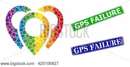 Rainbow Colored Gradient Circle Mosaic Map Markers, And Gps Failure Dirty Framed Rectangle Seals. Bl