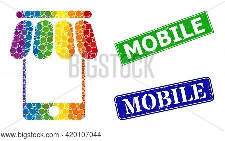 Spectral Colorful Gradiented Round Dot Collage Mobile Shop, And Mobile Dirty Framed Rectangle Stamp