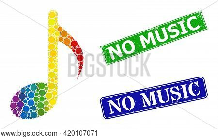 Spectral Colorful Gradient Circle Mosaic Music Note, And No Music Dirty Framed Rectangle Seals. Blue