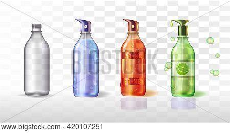 Plastic Or Glass Bottle With Label.3d.realistic.lemon Liquid Soap. White Background.set Of Transpare