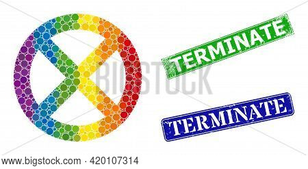 Spectrum Colorful Gradient Round Dot Collage Restrict, And Terminate Textured Framed Rectangle Stamp