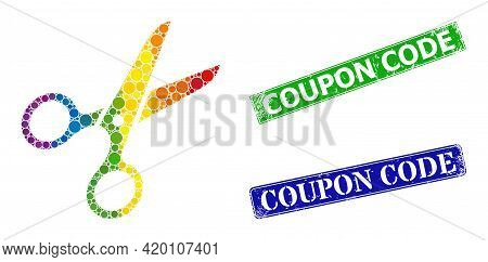 Rainbow Colorful Gradiented Circle Collage Scissors, And Coupon Code Textured Framed Rectangle Seals
