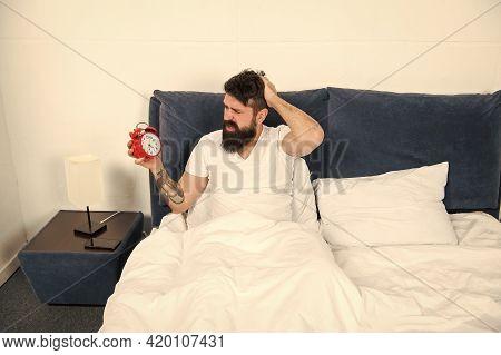 Body Clock. Sleepy Hipster Wakeup With Alarm Clock. Bearded Man Check Time On Retro Clock. Clock Is