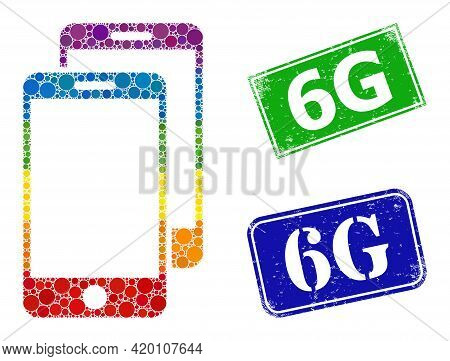 Spectrum Colorful Gradiented Circle Collage Smartphones, And 6g Corroded Framed Rectangle Seal Print