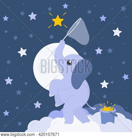 Little Baby Elephant On Fluffy Clouds Is Trying To Catch Bright Yellow Star By Butterfly Net. Vector