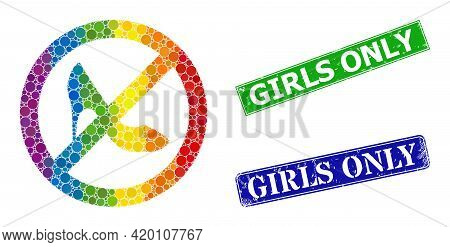 Spectral Colorful Gradient Circle Collage Stop Lady Shoes, And Girls Only Dirty Framed Rectangle Sea