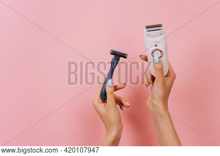 A Set Of Different Means For Epilation On A Colored Background. Unwanted Hair Removal. Modern Epilat