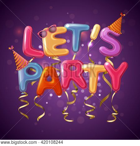 Colored Party Balloon Letters Background With Let S Play Headline On Purple Fond Vector Illustration
