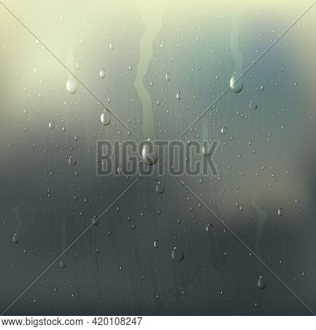 Colored Misted Wet Glass Drops Realistic Composition With Rain Stains On The Window Vector Illustrat
