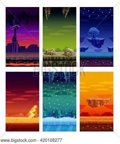 Electronic Computer Video Games 6 Beautiful Screen Display Fantastic Landscapes Elements Set Colorfu