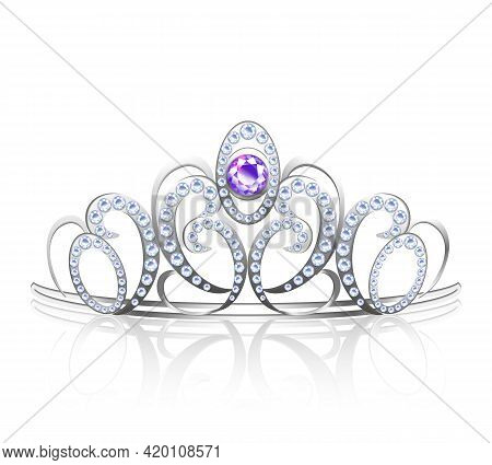 Colored Realistic Diadem Silver Inlaid With Precious Stones For Princess And Queen Vector Illustrati