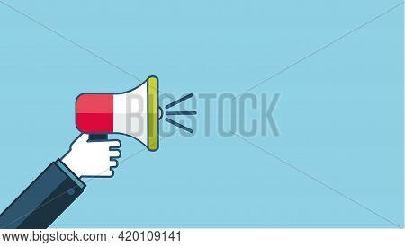 Loud Megaphone Message Template With Blank Empty Bubble Speech Announcement Vector Flat Cartoon