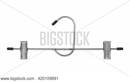 Metal Clothes Rack Hanger Dryer Adjustable Pinch Grip (with Clipping Path) Isolated On White Backgro