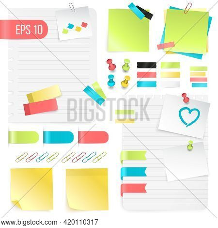 Colorful Paper Notes Set In Realistic Style With Pushpins Adhesive Tapes And Paper Clips Isolated Ve