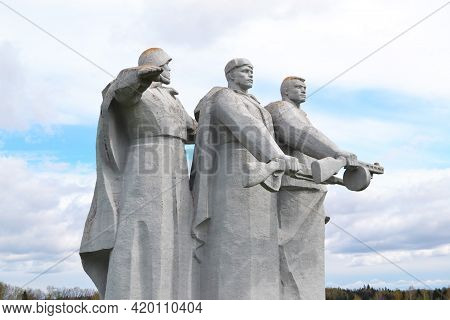 Volokolamsk, Russia, May 09, 2021. Monument To The Heroes Of Panfilov. Huge Monuments In The Field O