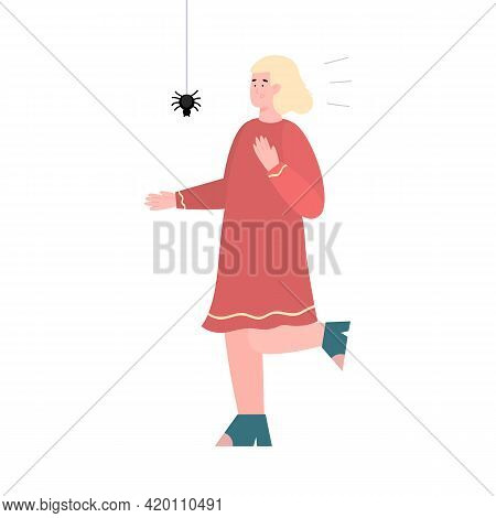 Fearful Woman Scared Of Spider, Cartoon Flat Vector Illustration Isolated.