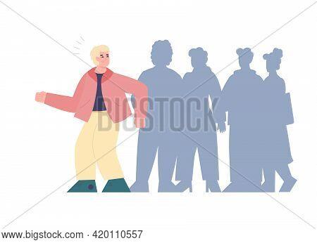 Man With Fear Of Crowd Or Asociality, Sociopathy Cartoon Vector Illustration.