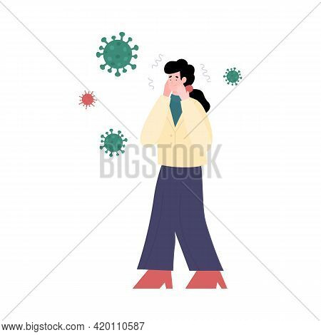 Phobia Of Bacterias Or Panic Due Pandemic Cartoon Vector Illustration Isolated.