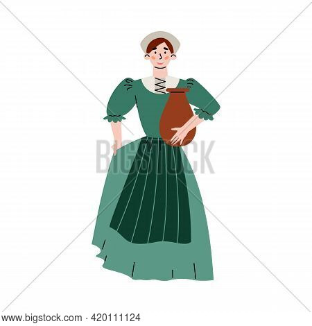 Medieval Peasant Or City Woman Flat Vector Illustration Isolated On White.