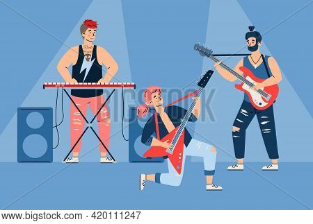 Rock Band Musicians Performing On Stage Cartoon Flat Vector Illustration.