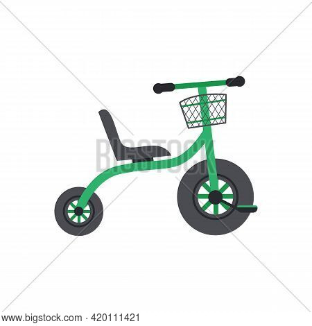 Childrens Two-wheeled Bicycle For Toddlers, Flat Vector Illustration Isolated.