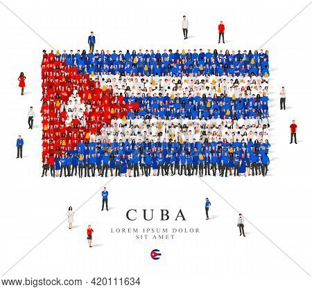 A Large Group Of People Are Standing In Blue, White And Red Robes, Symbolizing The Flag Of Cuba. Vec