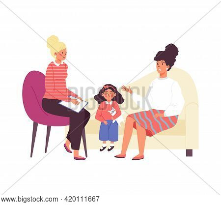 Mother And Child At Reception Of Psychologist, Flat Vector Illustration Isolated.