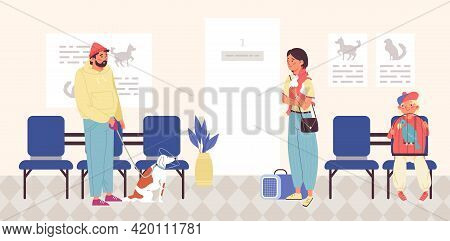 Vet Clinic With Clients Waiting For Medical Help, Flat Vector Illustration.