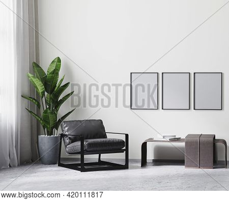 Poster Frame In Modern Room Interior In Gray Tones, White Empty Wall Mock Up, 3d Rendering