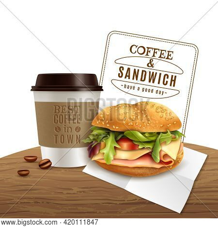 Fast Food Lunch Breakfast Menu Realistic Advertisement Poster With Takeaway Coffee And Delicious Ham