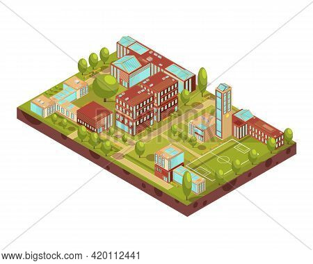 Complex Of Modern University Buildings Isometric Layout With Football Field Green Trees Walkways And