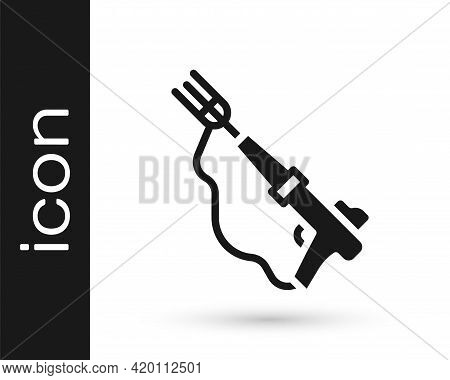 Black Fishing Harpoon Icon Isolated On White Background. Fishery Manufacturers For Catching Fish Und