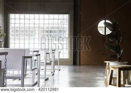 Modern And Industrial Style Loft Room, Stock Photo