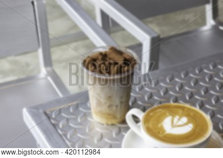 Iced Chocolate And Hot Coffee Latte, Stock Photo