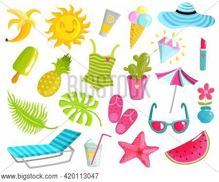 Collection Of Summer Stuff Including Beach Accessories, Fruits, Ice Cream, Starfish, Diamond, Sun, C