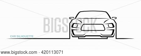 Muscle Car Silhouette Isolated On White Background. Sports Car Contour, Logo Design. Front View. Vec