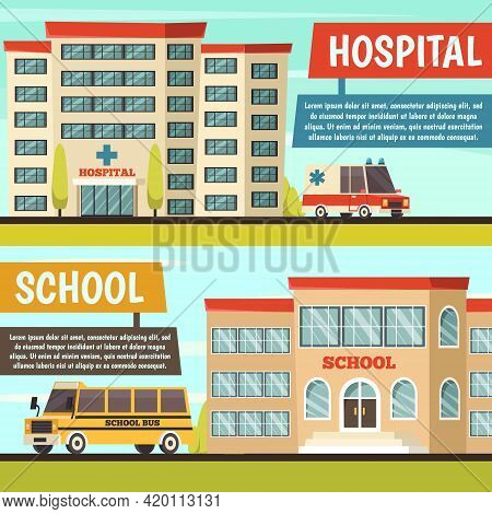 Two Horizontal Colored Orthogonal Municipal Buildings Banner Set With Hospital And School Buildings