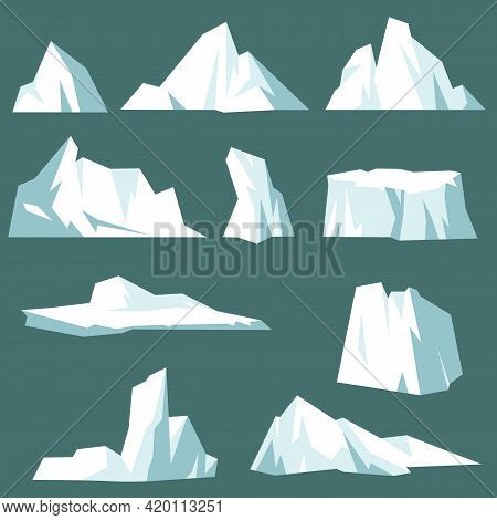 Set Of Arctic Icebergs Cartoon Vector Illustration. Crystal Icy And Snowy Mountains Floating In Arct